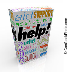 aide, assistance, mots, sur, produit, boîte, support client