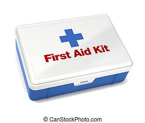 aide, blanc, premier, isolé, kit