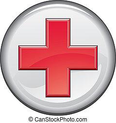 aide, bouton, premier, monde médical, croix