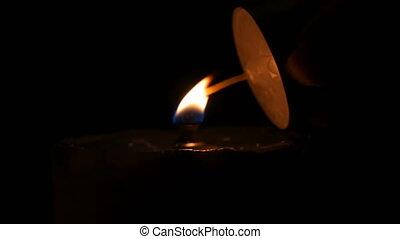 aide, brûlé, brûler, bougies, haut, autre, sombre, singeing, bougie, fin, vue.
