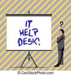 aide, business, technology., photo, projection, il, écriture, portion, desk., texte, ligne, conceptuel, main, soutien, assistance