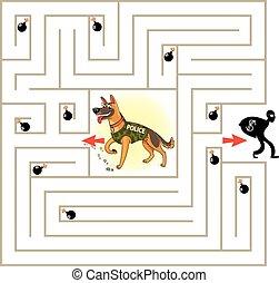 aide, caractère, manière, labyrinthe, trouver, dehors
