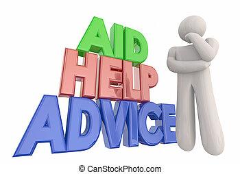 aide, conseil, soutien, illustration, penseur, aide, assistance, 3d