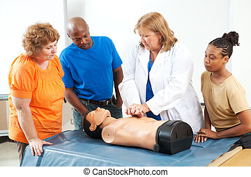 aide, cpr, adultes, apprentissage, premier