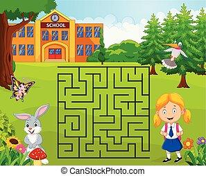aide, elle, école, jeu, labyrinthe, girl, trouver
