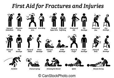 aide, figure bâton, icons., parties du corps, fractures, différent, premier, blessures