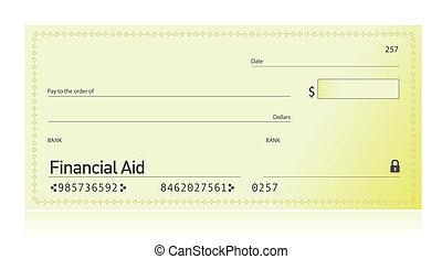 aide, financier, chèque, illustration