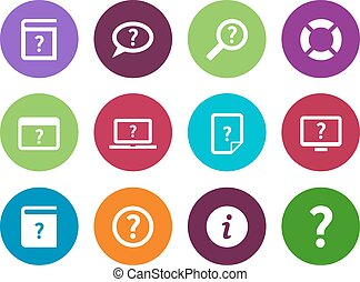 aide, icônes, faq, arrière-plan., cercle, blanc