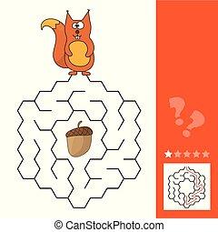 aide, jeu, manière, labyrinthe, pinecone, trouver, écureuil