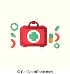 aide, kit médical, illustration, symbole, vecteur, fond, aide, blanc, premier
