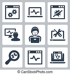 aide-ligne, ensemble, vecteur, icônes ordinateur
