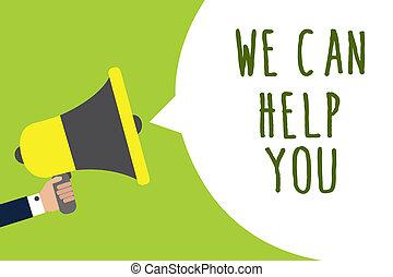 aide, message photo, haut-parleur, offrande, service, assistance, écriture, parole, tenue, conceptuel, bulle, parler, you., nous, loud., business, projection, attention, main, homme, client, boîte, showcasing, soutien