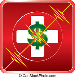 aide, monde médical, cout, symbole, premier