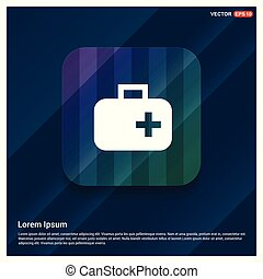 aide, monde médical, icône, premier, kit