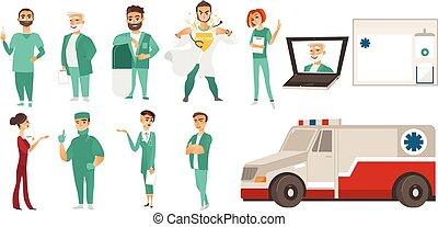 aide, monde médical, -, médecins, ligne, ambulance, personnel