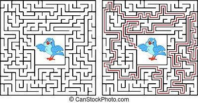 aide, page, obtenir, labyrinthe, village., gosses, included., activité, ou, chaque, birdhouse, jeu, répliquer, oiseau