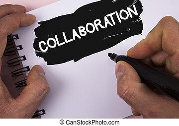 aide, photo, global, industries, écriture, écrit, collaboration, collaboration., texte, conceptuel, association, business, peint, projection, bloc-notes, main, fond, autres, gagner, homme, uni, marker.