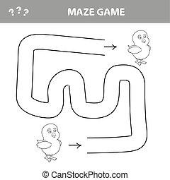 aide, puzzle, enfants, sien, manière, labyrinthe, poulet, trouver, dehors