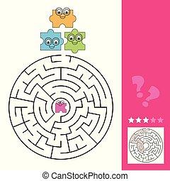 aide, puzzle, puzzle, jeu, manière, réponse, labyrinthe, morceau, gosses, trouver