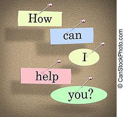 aide, question, comment, boîte, mots, vous, tableau affichage