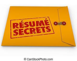 aide, reprendre, secrets, direction, enveloppe, jaune, entretien travail, pointes, conseil