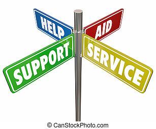 aide, service, soutien, illustration, signes, aide, 3d