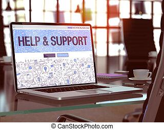 aide, soutien, moderne, arrière-plan., lieu travail, ordinateur portable