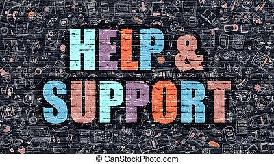 aide, soutien, sombre, multicolore, brickwall., concept.