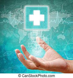 aide, symbole, fond, main, monde médical, premier