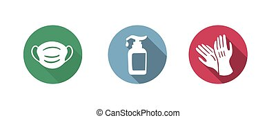 aide, système sanitaire, accessoires, ou, pendant, coronavirus, covid19, icône, -