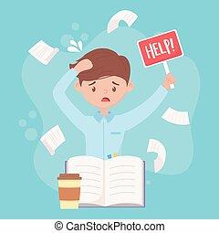 aide, tension, tomber, travail, ouvrier, planche, accentué, papiers