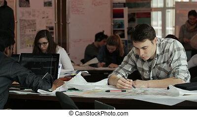 aide, traites, gens, créer, markers., coloré, classe