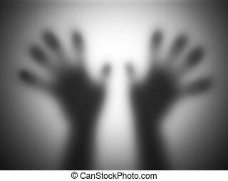 aide, verre, silhouettes, toucher, mains, crier, flou