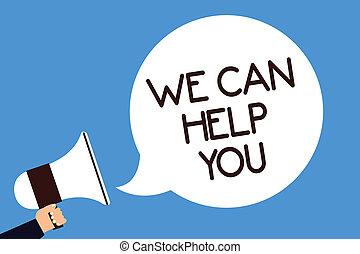 aide, you., photo, bleu, offrande, service, assistance, écriture, note, arrière-plan., parole, porte voix, bulle, haut-parleur, nous, business, projection, attention, prise, crier, homme, client, boîte, showcasing, soutien