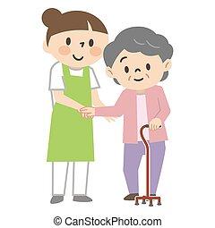 aider, caregiver, canne, personnes agées, jeune femme, femme