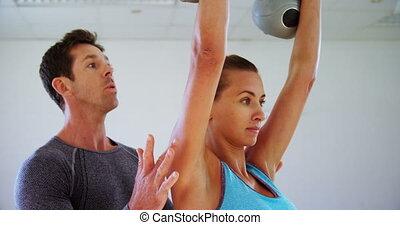 aider, entraîneur, exercice, 4k, kettlebell, femme
