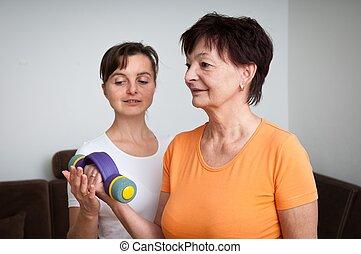 aider, entraîneur, femme, exercisme, barres disques, personne agee