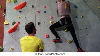 aider, entraîneur, mur, artificiel, 4k, femme, escalade