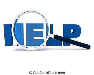 aider, mot, aide, soutien, ou, portion, helpdesk, spectacles