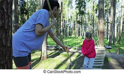 aides, mère, repos, extrême, fille, activités, été, aventure...