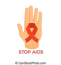 Aids awareness icon, palm with the red ribbon loop