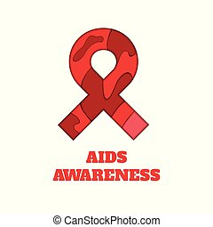 AIDS awareness papercut ribbon
