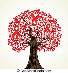 aids, baum, geschenkband