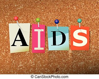 AIDS Concept Pinned Letters Illustration