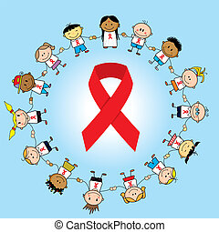 Aids day - Group of children around an aids ribbon.