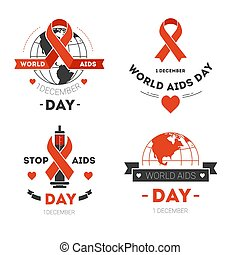 Aids day isolated icons red stripe or loop charity - Red...