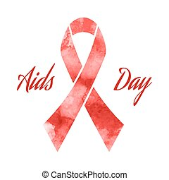 Aids day red ribbon grunge icon