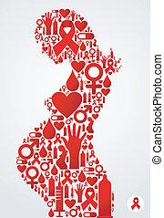 aids, innehållsrik kvinna, silhuett, ikonen