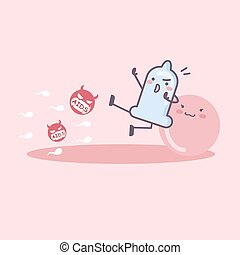AIDS prevention Concept - condom cartoon protect ovum, great...