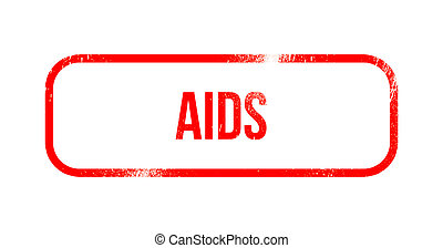 aids - red grunge rubber, stamp